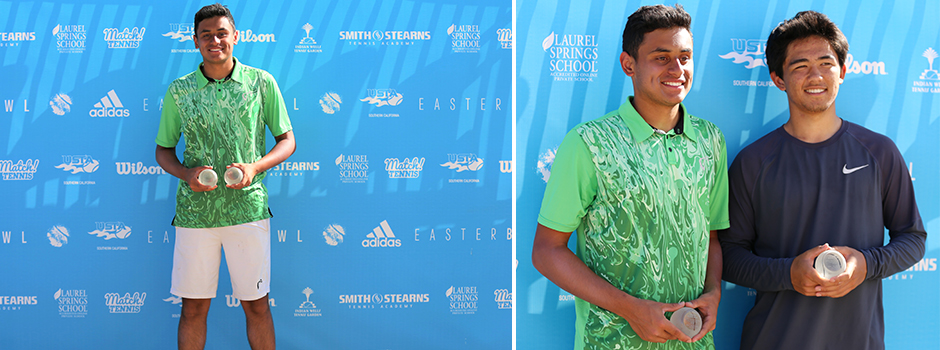 USTA National Championships – Easter Bowl – Indian Wells, CA.Picture on the left: Aryan Chaudary.Pictureon the right L-R: Aryan Chaudary.