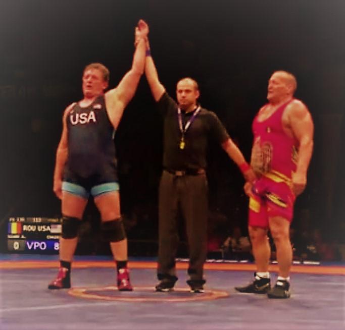 Dan Chaid wins wrestling Veterans championship (Univ. of Oklahoma/Gunderson HS, CCS)
