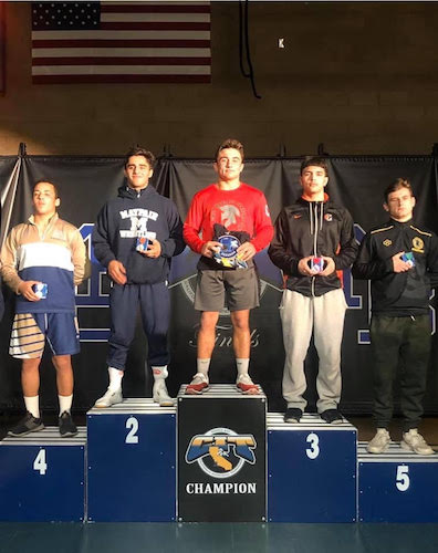 SportStar of the Week, returning state champion JT Stinson (red jersey) bumped up a weight class for the prestigious 81-team CIT Invitational.